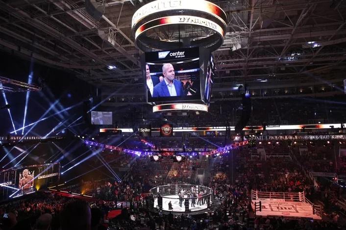 Una panoramica della SAP Center Arena di San Jose dove si è svolto l'evento Bellator Dynamite e l'annuncio dell'organizzazione che ospiterà Fedor