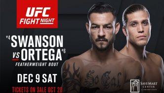 "UFN 123 ""Swanson vs. Ortega"" stanotte a Fresno"